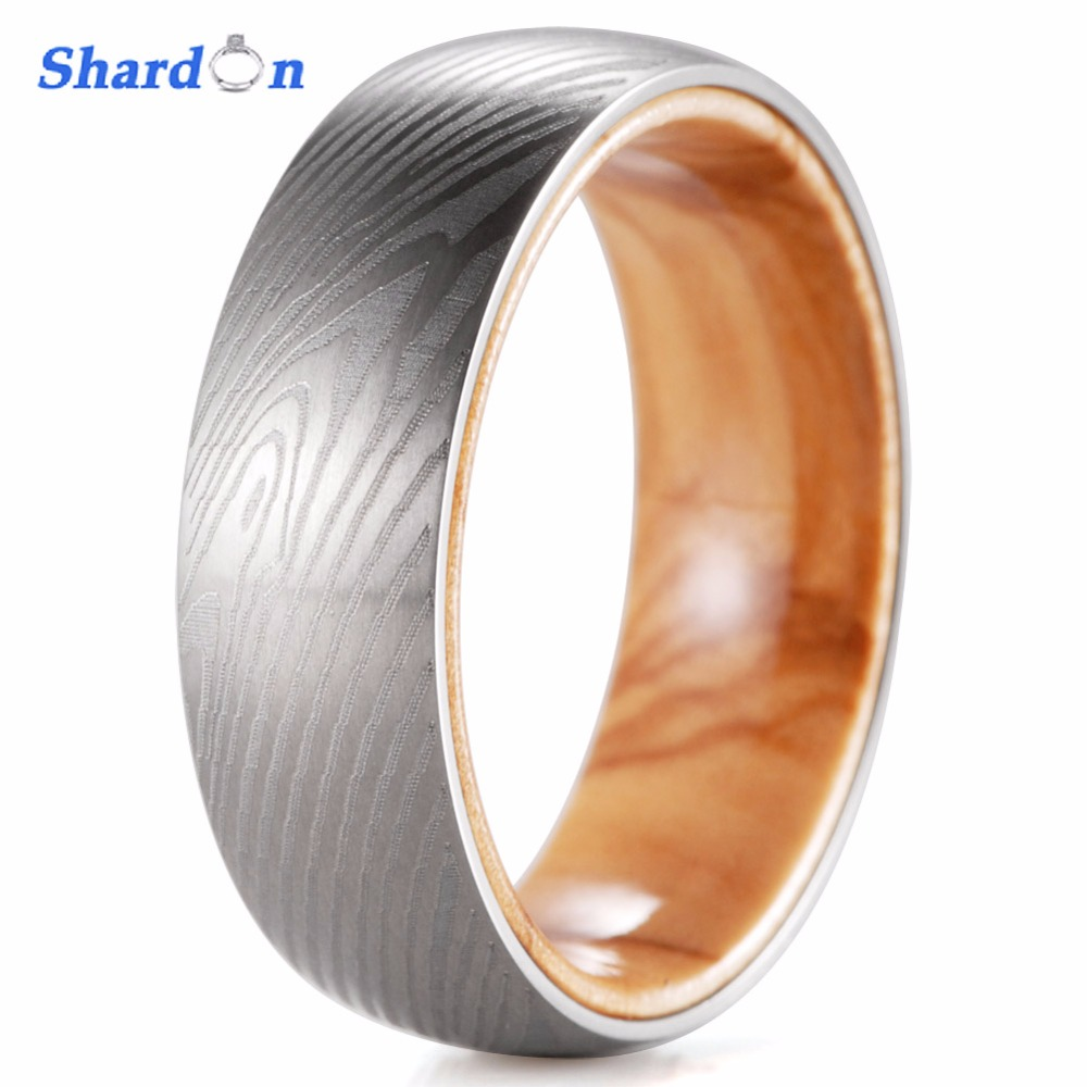 SHARDON 8mm Men's Titanium Ring with Koa wood inlay Domed Engagement ring with Matte finished Wedding band US size from 7-13 equte rssc4c99s5 fashionable elegant titanium steel women s ring black us size 5