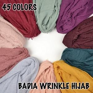 Image 4 - 10pcs/lot women crinkle solid hijabs scarf oversize islam shawl head wraps soft long muslim frayed wrinkle cotton plain hijab