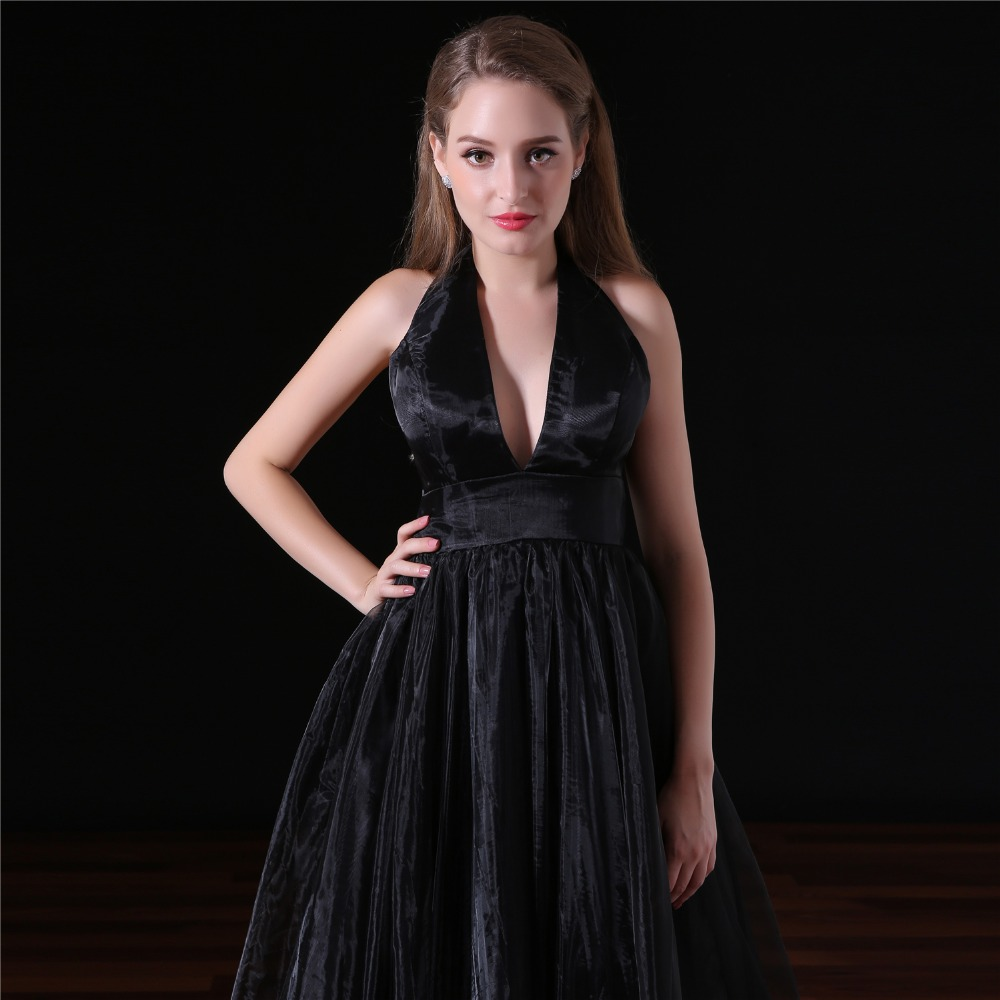 GSBRIDAL Deep V Sexy A Line Backless Black Evening Celebrity Dress