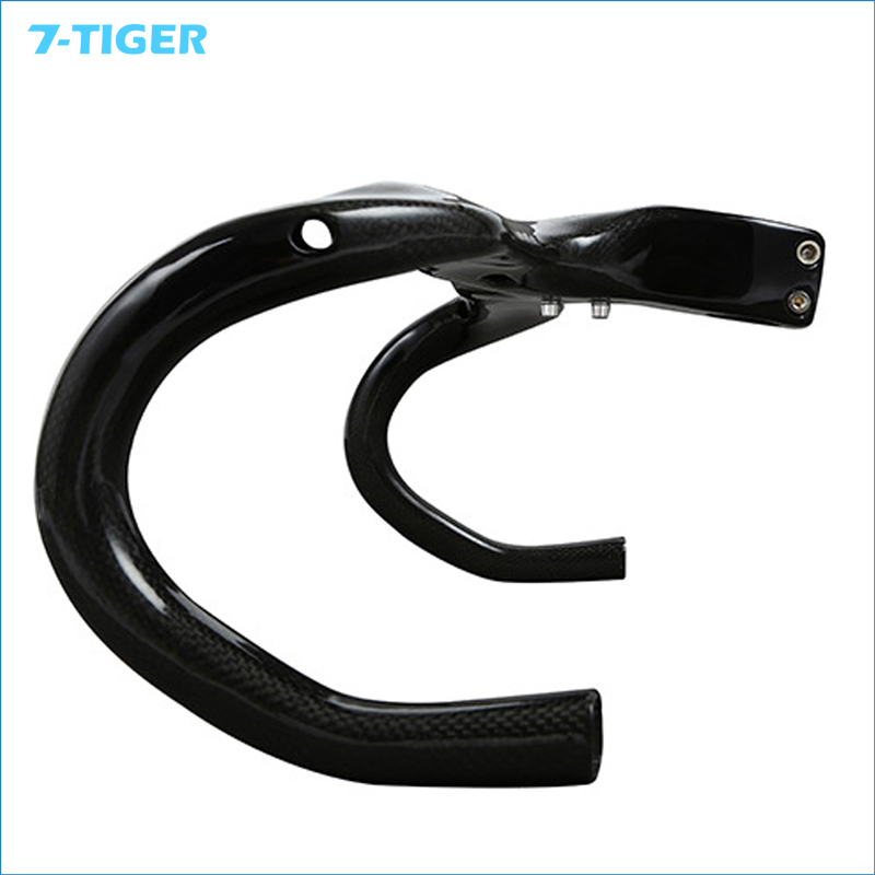 full carbon road bicycle cycling handlebar bent bar drop handle bar and Stem integrative 400/420/440mm computer handlebar holes road bike bicycle carbon fiber handlebar cycling horns handle bar ultra light high strength handlebar accessories 400 420 440mm