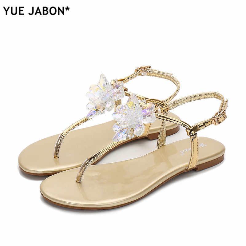 d4a11c090e28 ... 2019 shoes woman sandals women Rhinestones Chains Flat Sandals plus  size Thong Crystal Flip Flops sandals ...