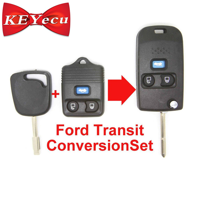 KEYECU Replacement 3 Button Remote Key Shell Case FOB Conversion Folding Type KIT For Ford Transit Transit Connect