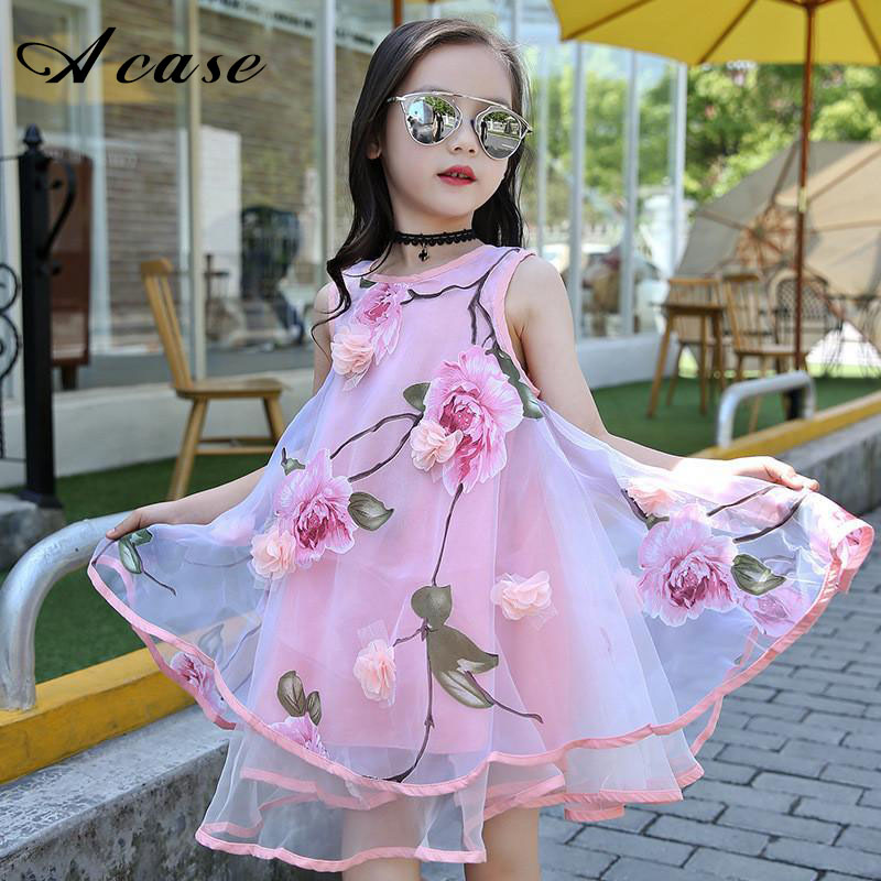 2018 Summer Girl Kids Fashion Flower Lace Ball Gown Strapless Dress Sleeveless Baby Children Clothes Infant Party Floral Dresses jioromy big girls dress 2017 summer fashion flower lace knee high ball gown sleeveless baby children clothes infant party dress