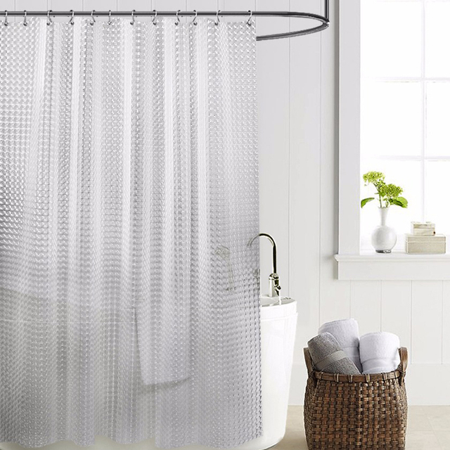 SDARISB Plastic PEVA 3d Waterproof Shower Curtain Transparent White Clear Bathroom Luxury Bath With