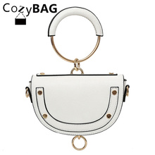 2017 New Fashion PU Leather Women Bag Hot Stylish Round Ring Handle Weekend Messenger Bag Half Moon Women Crossbody Bag