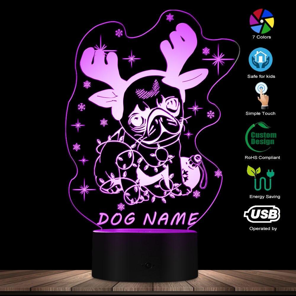 Custom Dog Name 3D Lamp Christmas Pug Deer 3D LED Night Light The Deer Dog Futuristic Acrylic Light Doggie Style Decorative Lamp