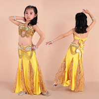 Child Belly Dance Costume (Bra+Belt+Dress) Indian Dance Dress for Kids Belly Dance Dress Girl Bollywood Dance Wear Clothing 89