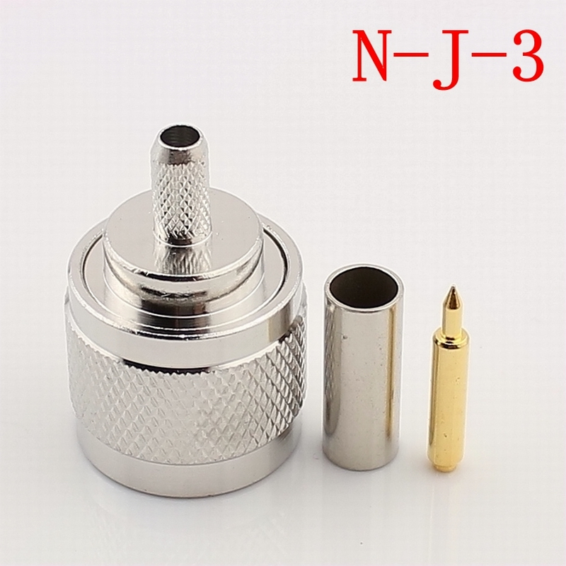 N-Type 50-3 RF Coaxial Connector N Male Connector for RG58 RG142 RG400 LMR195 RF Connector 1pcs rf adapter n type n male plug to 2 n female 3 way t type long version connector