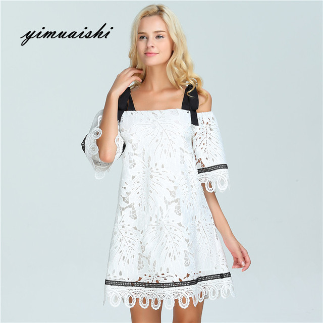 c803cf95 Fashion Women Elegant Vintage sweet lace white Dress Stylish Sexy Slash  Neck Casual Slim Beach Autumn Summer Sundress vestidos