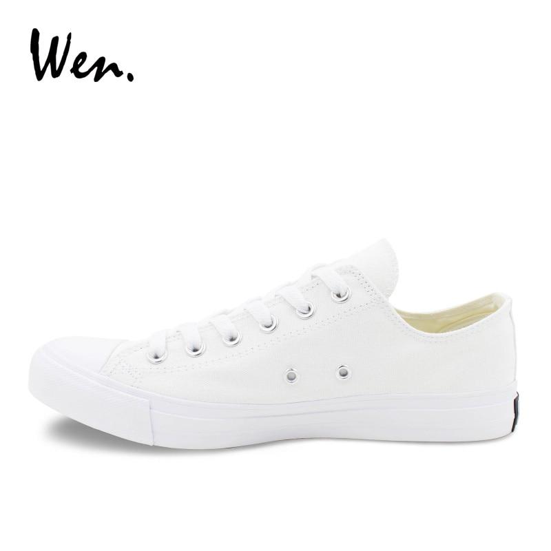 Wen Canvas Shoes Muškarci Tenisice Niska Vrh Solid Bijela Casual - Muške cipele - Foto 5