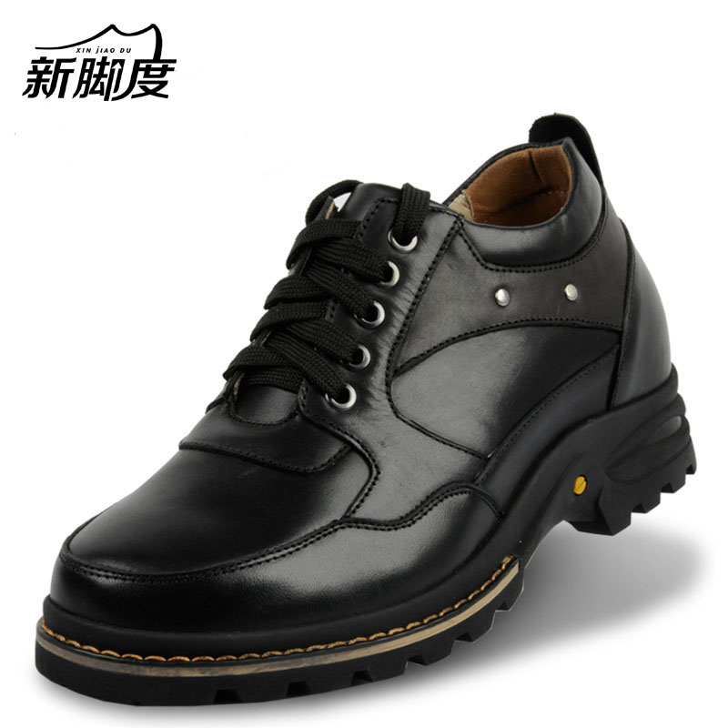 Leather Extra Height Increasing Shoes Elevated Tall Motorcycle Boots for Fashion Adult Men,Heightening Shoes 9CM taller