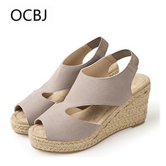 6173b945b41566 High Heels Hemp Sandals Colors Sandals For Women Summer Elegant Solid  Breathable Rome Female Shoes Quality Wedges Hot Selling