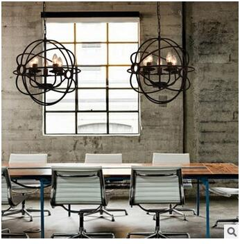 LED candle chandelier, restore ancient round lamp cage bar lamp, wrought iron restaurant light 110-240