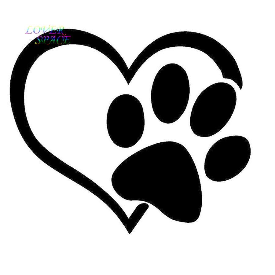 puppy i love my dog window sticker vinyl decal small or large paw rh aliexpress com From a Dog Paw Prints From a Dog Paw Prints