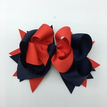 1 PC 5 Inch  baby Hair Bows Polyester Hairpins 2 Colors 3 layers Tie Clip Kids Accessories Headwear