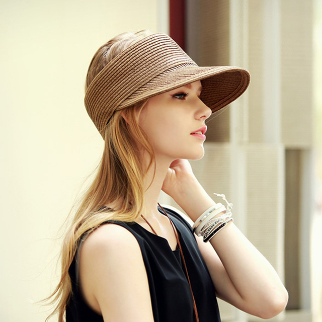dropshipping New Fashion Women Lady Foldable Roll Up Sun Beach Wide Brim  Straw Visor Hat Cap Leisure hat visor caps baseball hat 2f302bca978