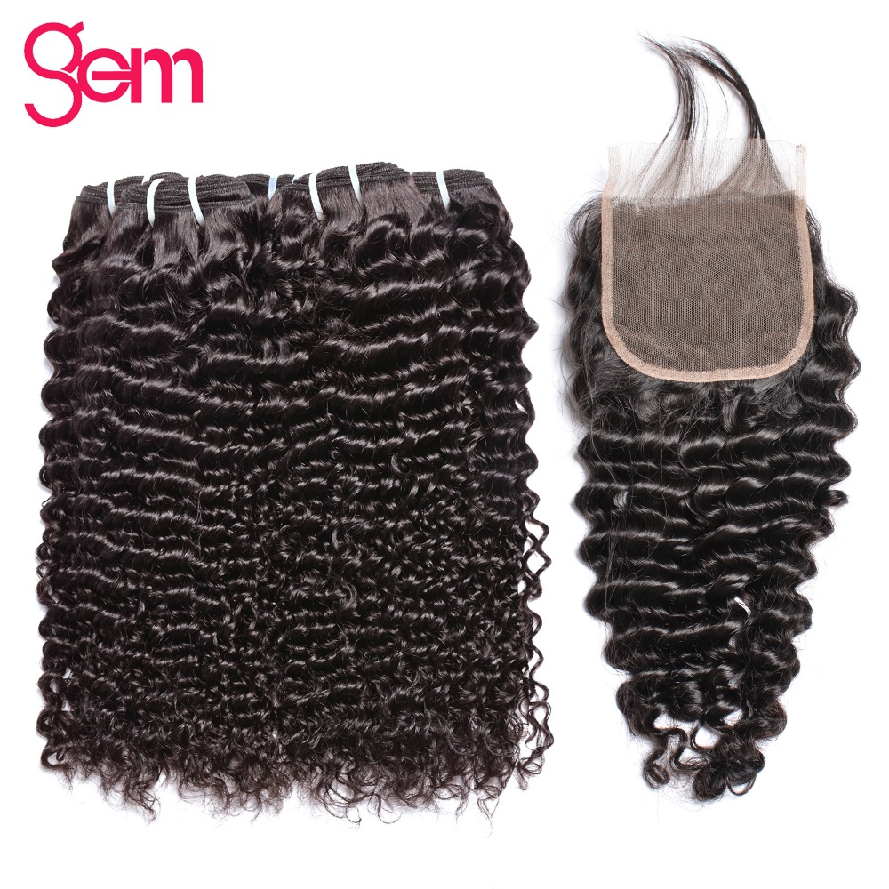 Malaysia Curly Hair Weave Bundles With Closure Human Hair Bundles With Closure Gem Non Remy Bundles