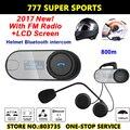 Pantalla LCD de La Motocicleta Función de Altavoz de Alta Fidelidad FM BT Bluetooth Intercomunicador Del Casco de Bluetooth Intercom Headset
