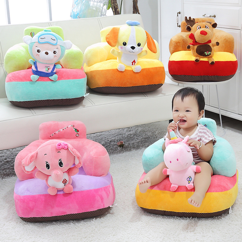 1pc Kawaii Plush Unicorn Baby Seat Cushion Soft  PIG Stuffed Animals Seat For Baby Learning To Seat Colorful Safety Seats