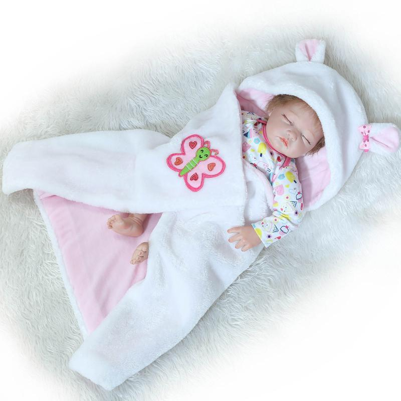 Nicery 20inch 50cm Bebe Reborn Doll Half Silicone Body Girl Toy Reborn Baby Doll Gift for Child White Hat Butterfly Baby Doll [mmmaww] christmas costume clothes for 18 45cm american girl doll santa sets with hat for alexander doll baby girl gift toy