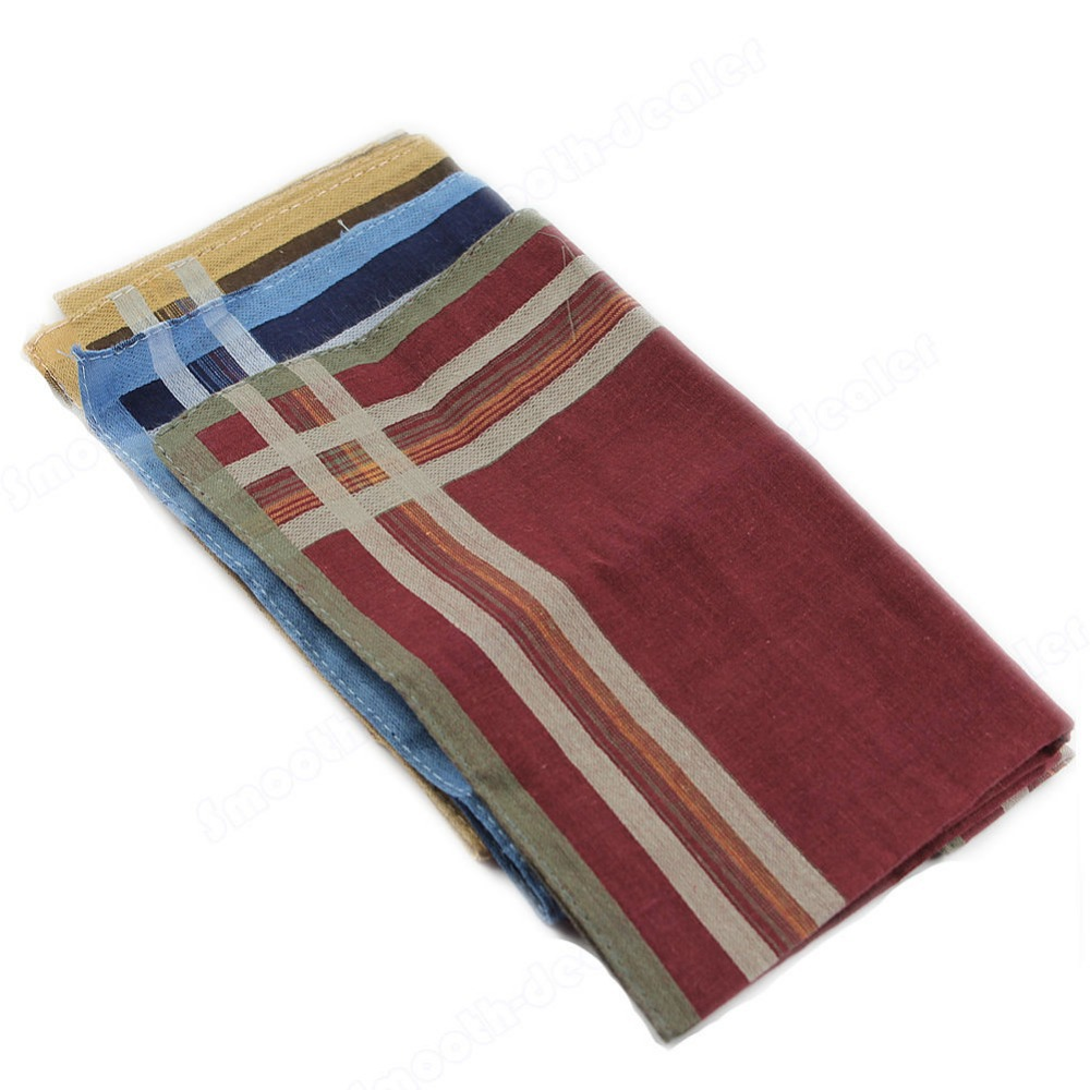 Men Classic Hand-woven Cotton Handkerchief  High Quality Classic Soft Comfort Plaid Handkerchief New