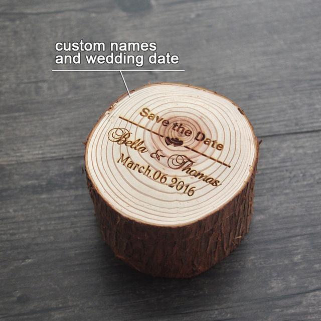 Custom Rustic Ring Bearer, Engraved Wood Wedding Ring Box