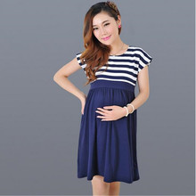 Maternity Nursing Dresses 2018 Summer Long Striped for Pregnancy Women Womens Tops Vestidos C0048