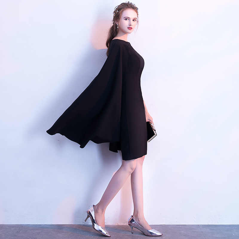 c10230812082 ... It's YiiYa Simple Little Black Full Cap Sleeve Cloak Zipper Cocktail  Dresses A-line Knee ...
