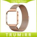 23mm Milanese Laço Cinta + Armação de Metal para Fitbit Blaze Faixa de Relógio de Aço inoxidável Pulseira de Fecho Magnético Preto Ouro Rosa prata