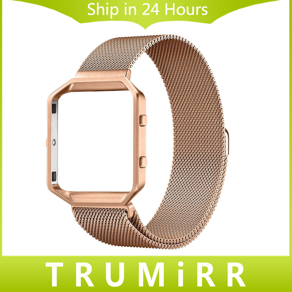 23mm Milanese Loop Strap + Metal Frame for Fitbit Blaze Stainless Steel Watch Band Magnetic Lock Bracelet Black Rose Gold Silver fitbit blaze band large metal frame housing