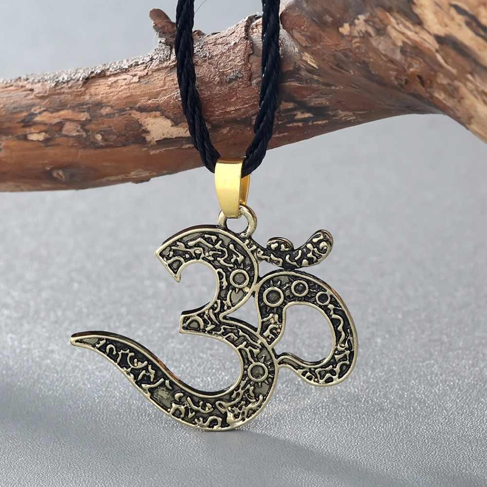 Kinitial خمر OM قلادة أوم قلادة مجوهرات OM سحر yoga مجوهرات النساء العرقية القلائد التأمل yoga مجوهرات
