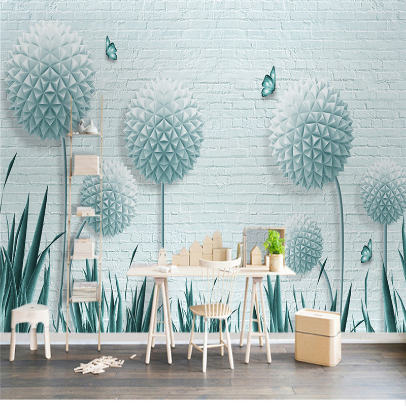 3D Wall Murals Custom Photo Wallpapers Beautiful Elegant Dandelion Fresh Blue Floral Home Decoration Living Room Wallpaper