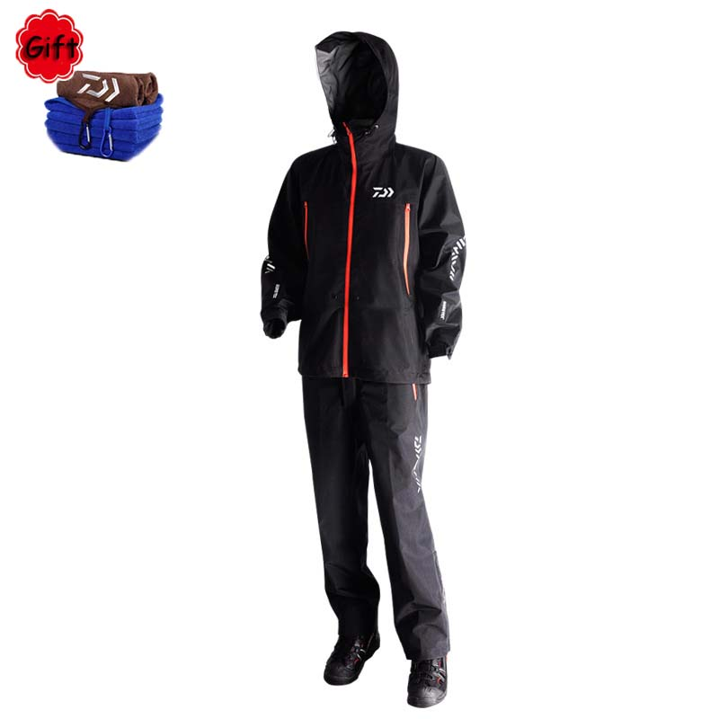 Winter Black Fishing Clothing Hooded Waterproof Breathable Full Zipper Fishing Jackets Long Sleeve Clothes Fishing Pant Suit mens winter sea fishing clothes one piece suit floating life saving fishing clothing ykk zipper lifesaving whistle fly fishing