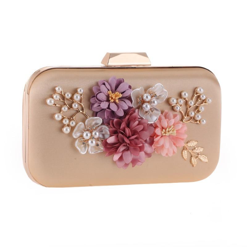 Classic 3D Flower Evening Bag Women Beaded Clutch Champagne Color Wedding Purse Female Chain Handbag Bolsa