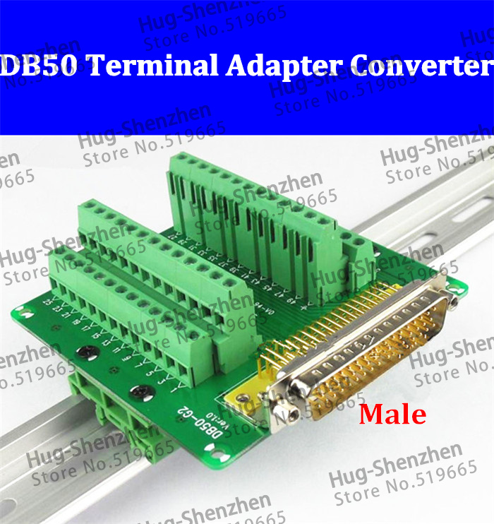 DB50 DR50 male 50 pin port din rail module Terminal block adapter converter PCB board Breakout 3 row with shell 2pcs hdmi 2 0 hd adapter male connector breakout to 19p terminal board no need soldering high quality with housing shell