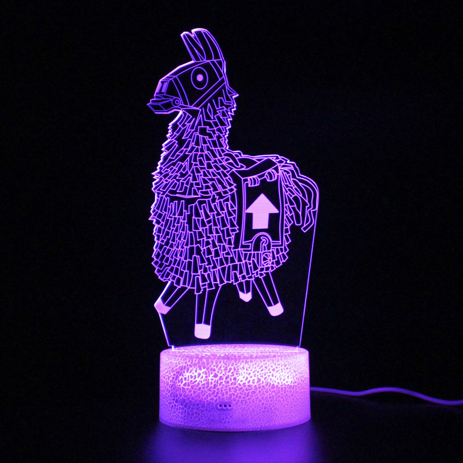 Game Battle Royale Remote Control Touch 3d Table Lamp Llama Led Light Party Decoration Night Light Illusion  Lamp