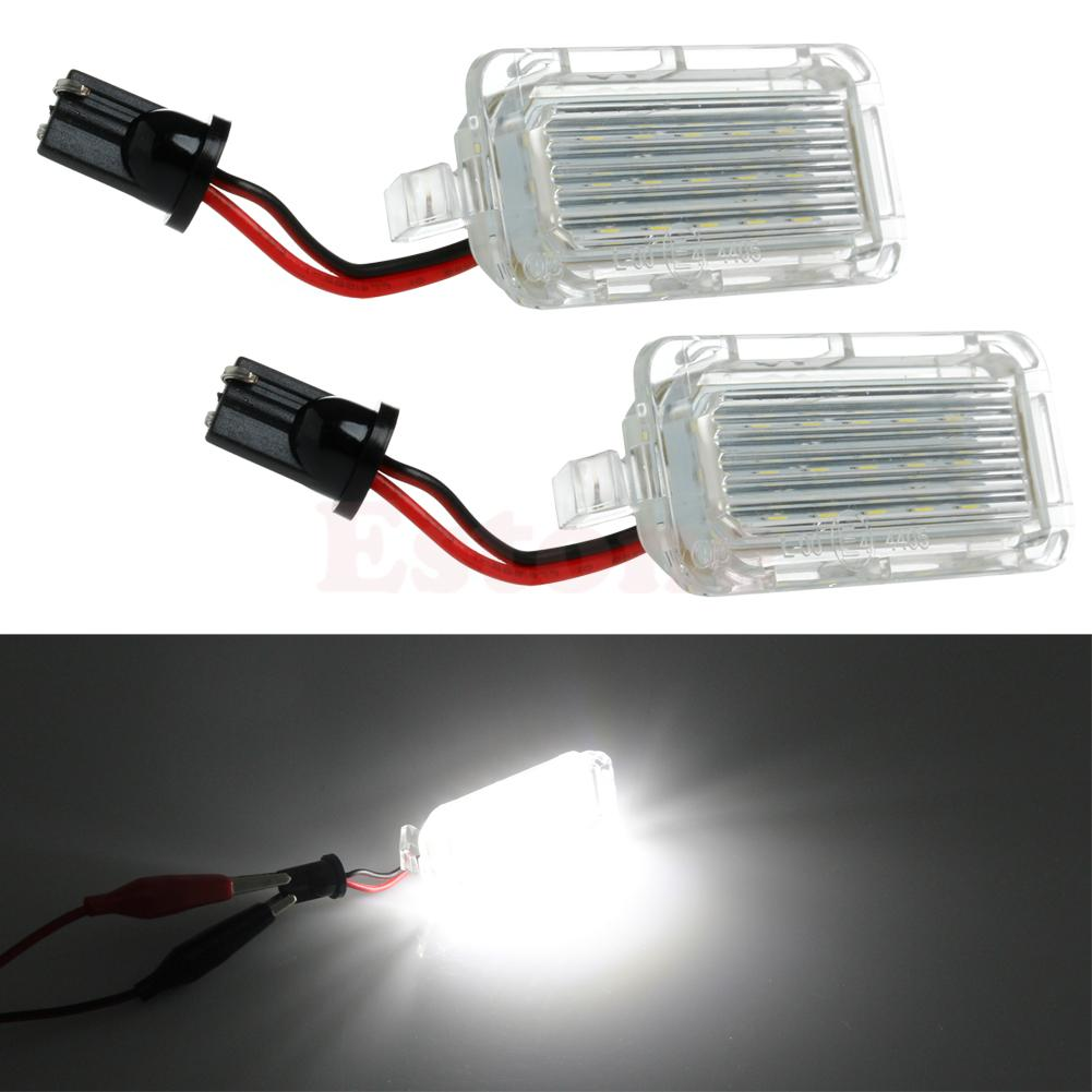 1Pair License Number Plate Light 18LED Lamps Replace For Ford Mondeo Focus 5D Canbus 1pair license number plate light 18led lamps replace for ford mondeo focus 5d canbus d2tb