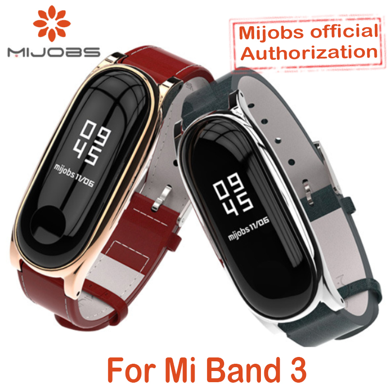 For Xiaomi Mi Band 3 Genuine Leather Strap Metal Frame For MiBand 3 Smart Bracelet XiaoMi Mi Band 3 Replace Strap Accessories-in Smart Accessories from Consumer Electronics