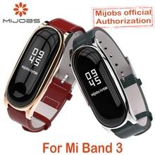 Pour Xiao mi bande 3 Bracelet en cuir véritable cadre en métal pour mi bande 3 Bracelet intelligent Xiao mi bande 3 remplacer les accessoires de sangle
