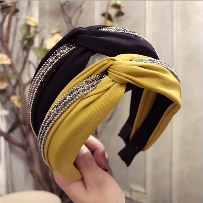 Fashion hair accessories women's solid color fabric middle cross-studded wide-brimmed headband headband girl hair band   headwear