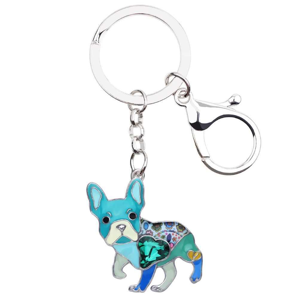 Bonsny Emaille Legierung Strass Französisch Bulldogge Mops Hund Schlüssel Ketten Keychain Tier Schmuck Für Frauen Mädchen Tasche Auto Charme Geschenk pet