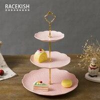 Rui Shikai Europejskiej poezja czysta płyta deser dwa ulga ceramiczne warstwy trójwarstwowego rama owoce ciasto tacy prezent