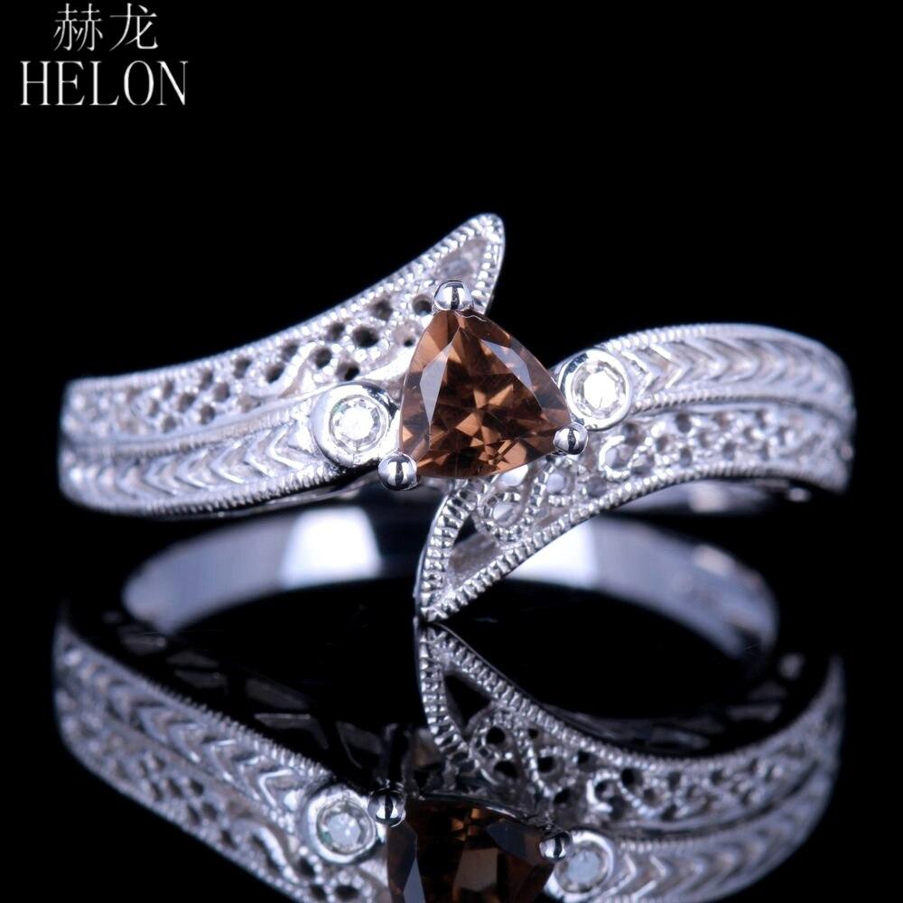HELON Trillion 4.5x4.5mm Genuine Smokey Quartz Diamonds Antique Vintage Ring Solid 14k White Gold Engagement Trendy Jewelry Ring цена