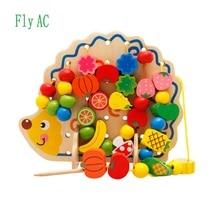 Fly AC Kayu Buah dan Sayur Hantaman & merangkai Manik-manik Mainan dengan Papan Hedgehog untuk Anak-anak di atas 3 tahun
