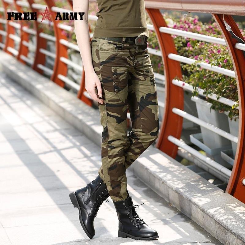 Moda Žene maskirne hlače ženske vojne tereta olovka pant Slim - Ženska odjeća - Foto 4