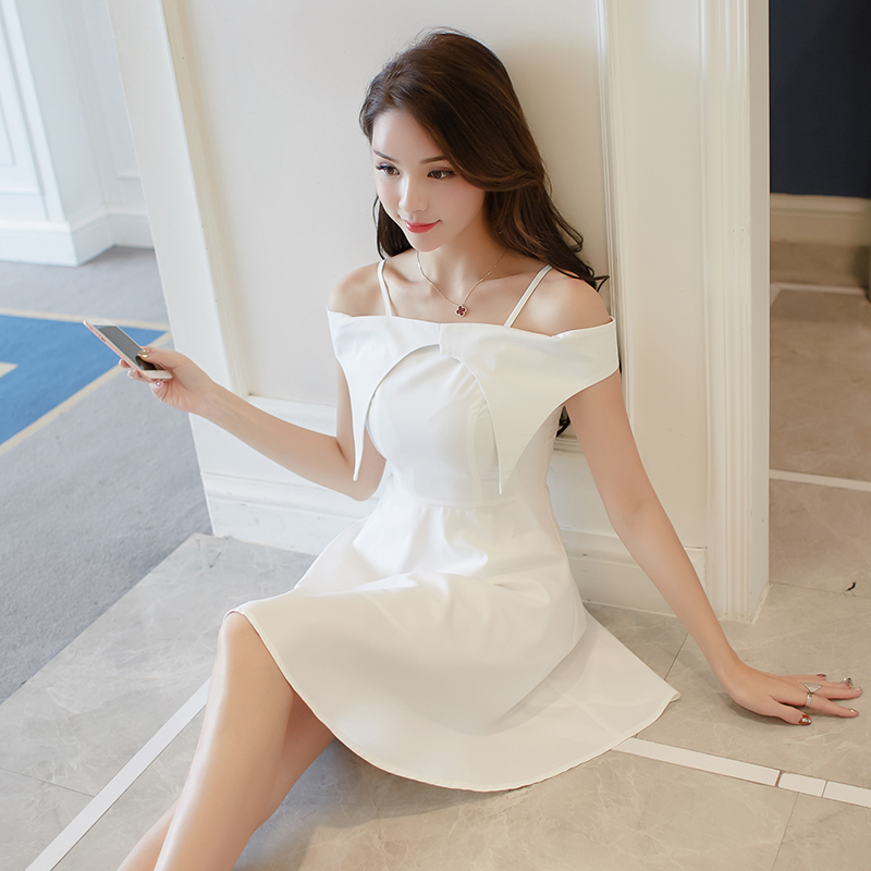 Robe Mousseline L'épaule 2018 A Blanc Slash Vintage De New Moulante Soie ligne L'école Summer Robes Femmes Cou Xqztrzw