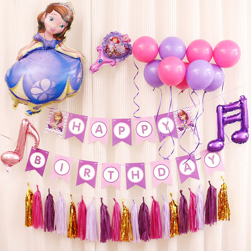 New type HAPPY BIRTHDAY balloon Set balloon + Paper Banner Set Birthay DIY Party Backdrop Decoration Favors Kid Toy ...