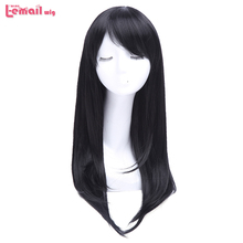 L-email wig Women Long Wigs 10 Colors 65cm Black Pink Straight Heat Resistant Synthetic Hair Perucas Cosplay Wig