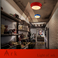 Ark Light FREE SHIPPING Vintage American Iron Ceiling Light Glass Lamp For Lobby Balcony Gallery