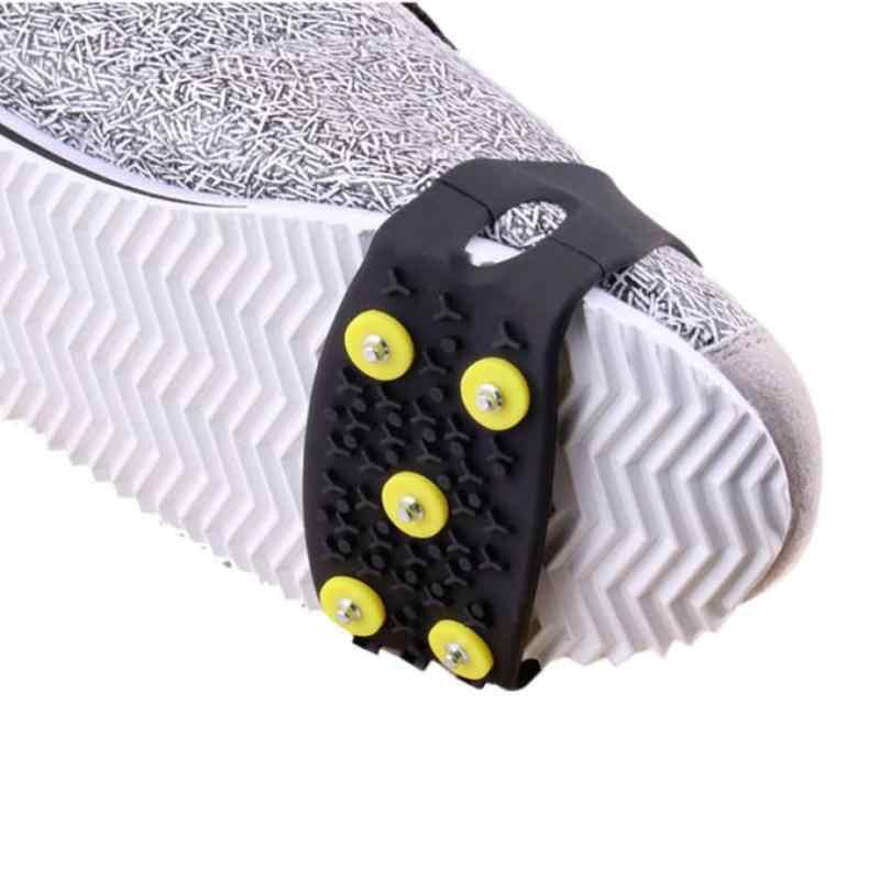 Противоскользящие шипы для обуви для снежного ледолазания Crampon escalada Cleats 5-обувь с заклепками Крышка для катания на лыжах прогулки походы альпинистские снегоступы